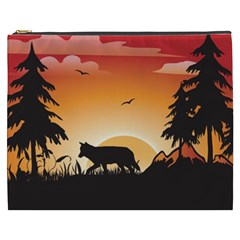 The Lonely Wolf In The Sunset Cosmetic Bag (XXXL)