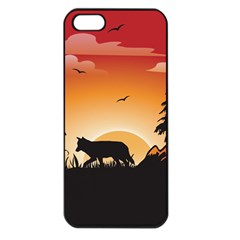 The Lonely Wolf In The Sunset Apple iPhone 5 Seamless Case (Black)