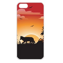 The Lonely Wolf In The Sunset Apple iPhone 5 Seamless Case (White)