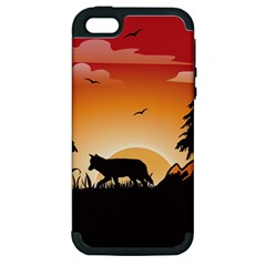 The Lonely Wolf In The Sunset Apple iPhone 5 Hardshell Case (PC+Silicone)