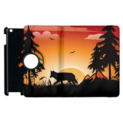 The Lonely Wolf In The Sunset Apple Ipad 3/4 Flip 360 Case