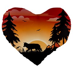 The Lonely Wolf In The Sunset Large 19  Premium Heart Shape Cushions