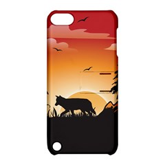 The Lonely Wolf In The Sunset Apple iPod Touch 5 Hardshell Case with Stand