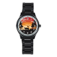 The Lonely Wolf In The Sunset Stainless Steel Round Watches