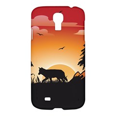 The Lonely Wolf In The Sunset Samsung Galaxy S4 I9500/I9505 Hardshell Case