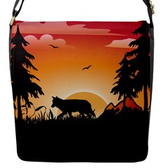 The Lonely Wolf In The Sunset Flap Messenger Bag (S)
