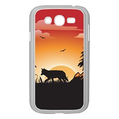 The Lonely Wolf In The Sunset Samsung Galaxy Grand DUOS I9082 Case (White)