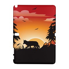 The Lonely Wolf In The Sunset Samsung Galaxy Note 10 1 (p600) Hardshell Case