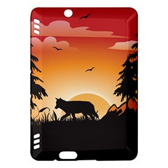 The Lonely Wolf In The Sunset Kindle Fire HDX Hardshell Case