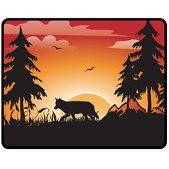 The Lonely Wolf In The Sunset Double Sided Fleece Blanket (Medium)