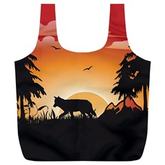 The Lonely Wolf In The Sunset Full Print Recycle Bags (L)