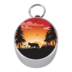 The Lonely Wolf In The Sunset Mini Silver Compasses