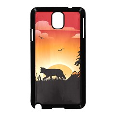 The Lonely Wolf In The Sunset Samsung Galaxy Note 3 Neo Hardshell Case (Black)