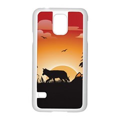 The Lonely Wolf In The Sunset Samsung Galaxy S5 Case (White)