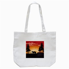 The Lonely Wolf In The Sunset Tote Bag (White)
