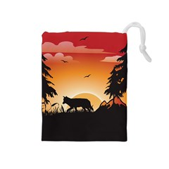 The Lonely Wolf In The Sunset Drawstring Pouches (Medium)