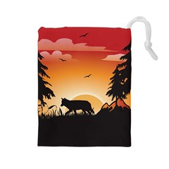 The Lonely Wolf In The Sunset Drawstring Pouches (Large)
