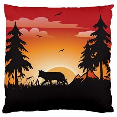 The Lonely Wolf In The Sunset Large Flano Cushion Cases (one Side)