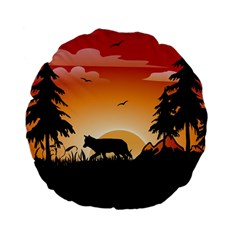 The Lonely Wolf In The Sunset Standard 15  Premium Flano Round Cushions