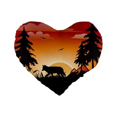 The Lonely Wolf In The Sunset Standard 16  Premium Flano Heart Shape Cushions