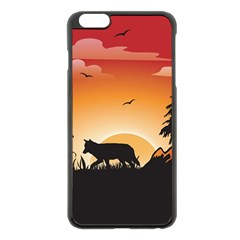 The Lonely Wolf In The Sunset Apple Iphone 6 Plus/6s Plus Black Enamel Case