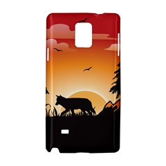The Lonely Wolf In The Sunset Samsung Galaxy Note 4 Hardshell Case