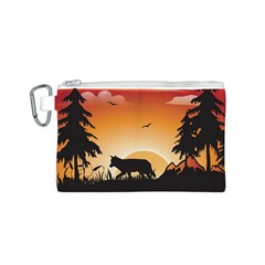 The Lonely Wolf In The Sunset Canvas Cosmetic Bag (S)