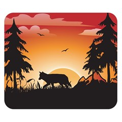 The Lonely Wolf In The Sunset Double Sided Flano Blanket (small)