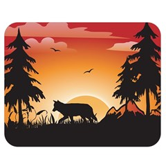 The Lonely Wolf In The Sunset Double Sided Flano Blanket (Medium)