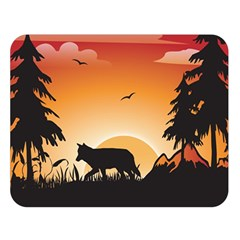 The Lonely Wolf In The Sunset Double Sided Flano Blanket (Large)