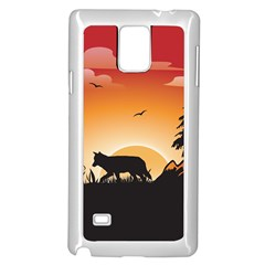 The Lonely Wolf In The Sunset Samsung Galaxy Note 4 Case (White)