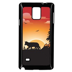 The Lonely Wolf In The Sunset Samsung Galaxy Note 4 Case (Black)