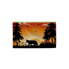The Lonely Wolf In The Sunset Cosmetic Bag (xs)