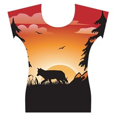 The Lonely Wolf In The Sunset Women s Cap Sleeve Top
