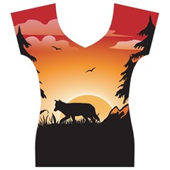 The Lonely Wolf In The Sunset Women s V-Neck Cap Sleeve Top