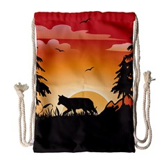 The Lonely Wolf In The Sunset Drawstring Bag (large)