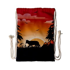 The Lonely Wolf In The Sunset Drawstring Bag (Small)