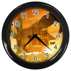 Awesome Sunset Over The Ocean With Ship Wall Clocks (Black)