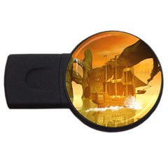 Awesome Sunset Over The Ocean With Ship USB Flash Drive Round (2 GB)