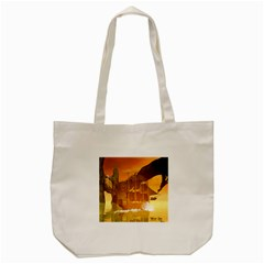 Awesome Sunset Over The Ocean With Ship Tote Bag (cream)