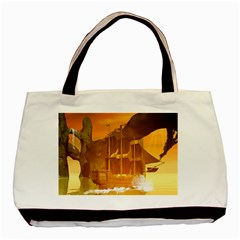 Awesome Sunset Over The Ocean With Ship Basic Tote Bag