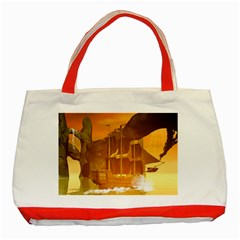 Awesome Sunset Over The Ocean With Ship Classic Tote Bag (red)
