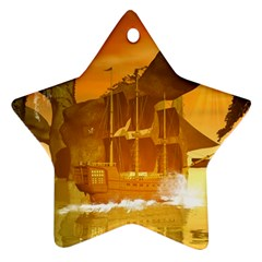 Awesome Sunset Over The Ocean With Ship Star Ornament (Two Sides)