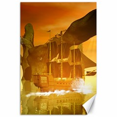 Awesome Sunset Over The Ocean With Ship Canvas 20  X 30