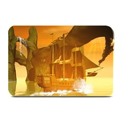 Awesome Sunset Over The Ocean With Ship Plate Mats