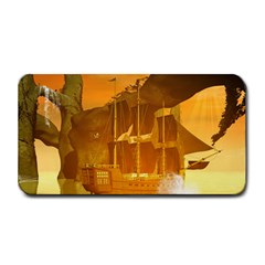 Awesome Sunset Over The Ocean With Ship Medium Bar Mats
