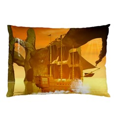 Awesome Sunset Over The Ocean With Ship Pillow Cases