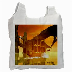 Awesome Sunset Over The Ocean With Ship Recycle Bag (One Side)