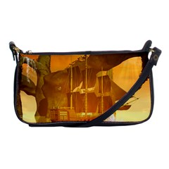 Awesome Sunset Over The Ocean With Ship Shoulder Clutch Bags
