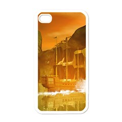 Awesome Sunset Over The Ocean With Ship Apple iPhone 4 Case (White)